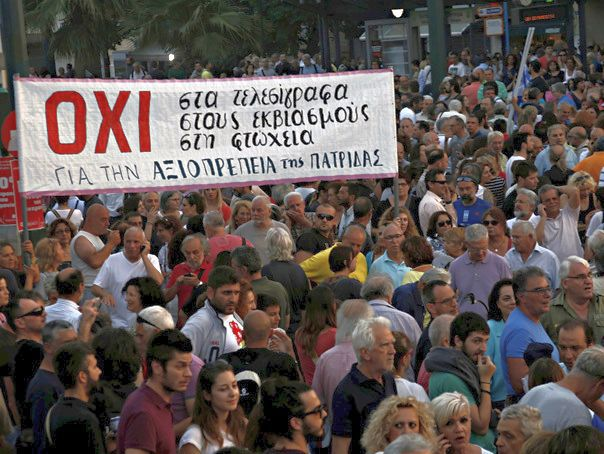 Concerns over Greece's financial crisis draws thousands of protesters to the Syntagma square in Athens, Greece, on June 29, 2015 with many throwing their weight behind Prime Minister Alexis Tsipras' anti-austerity stance in recent negotiations over the country's debt.Photos show protesters carrying signs and banners reading Oxi! ? Greek for No! as the country prepares for an upcoming referendum on Sunday July 5 on whether or not to accept the demands of Greece's international creditors. Photo by Alexandros Michailidis/Depo Photos/ABACAPRESS.COM