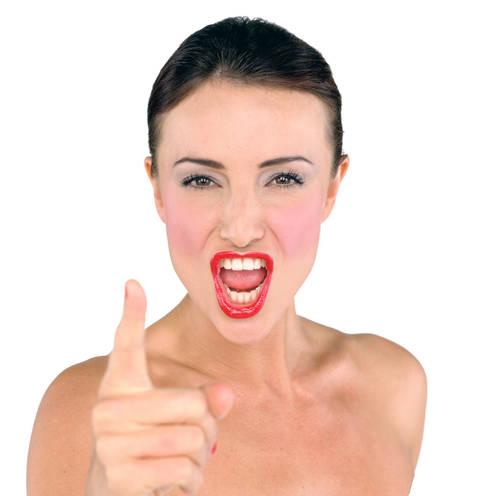 Woman, make up, blusher, red lipstick, pointing finger, shouting, shout, point  © Brendan O'Sullivan / Retna UK Credit All Uses Fully Model Released Digital File Only