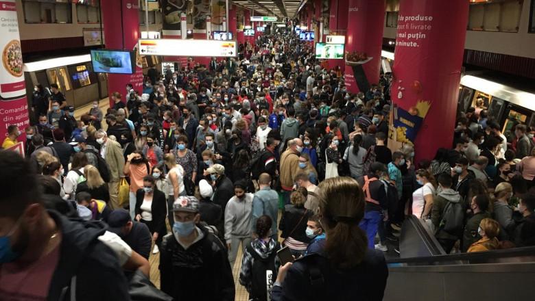 Metroul, blocat de leșinul unui bărbat. Sute de persoane au umplut peronul