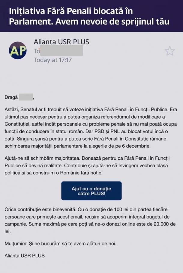 """Fără Penali în Funcții Publice"""" pentru a strânge bani pentru propria campanie electorală și pentru a ataca PNL"""