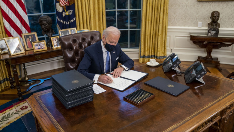 Joe Biden participă, pe 25 martie, la ședința Consiliului European