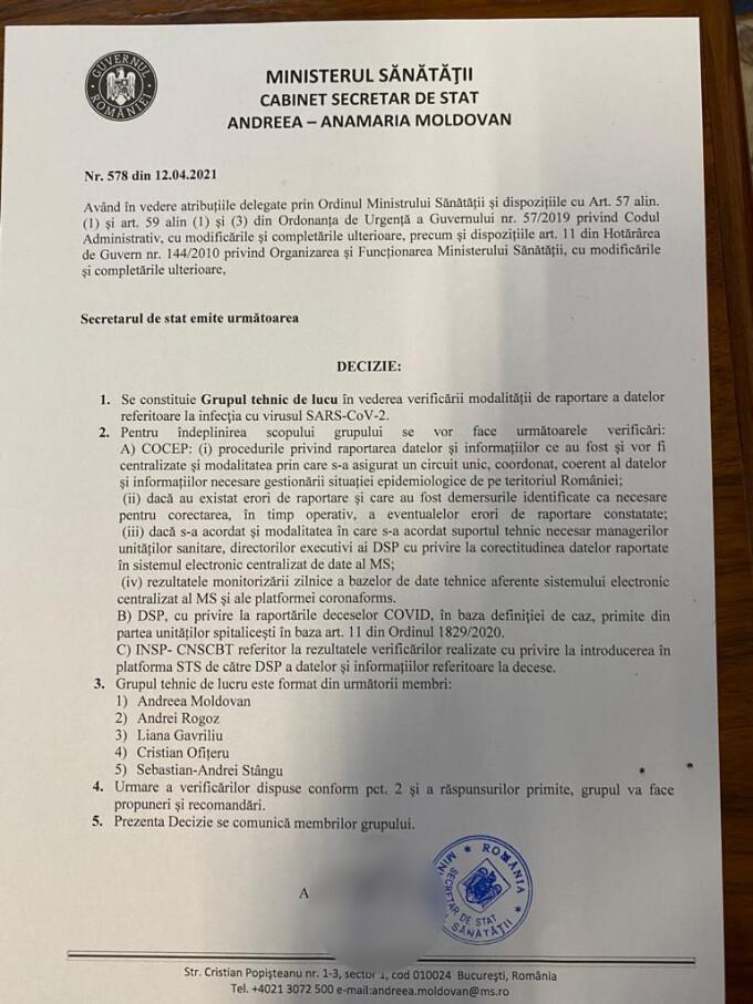Informaţiile apărute în presă cu privire la existenţa unui document transmis în atenţia premierului Florin Cîţu, referitor la constituirea unui grup